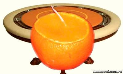 новогодняя свеча из мандарина